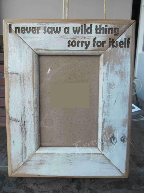 Rustic frame with engraving